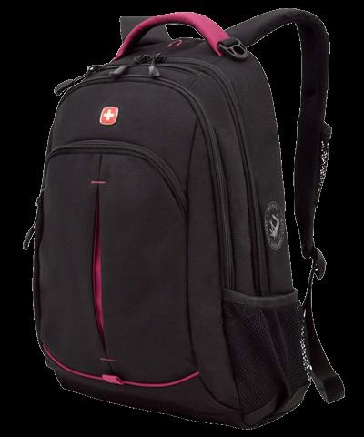 Рюкзак Wenger, черный/фуксия, 32x15x46 см, 22 л