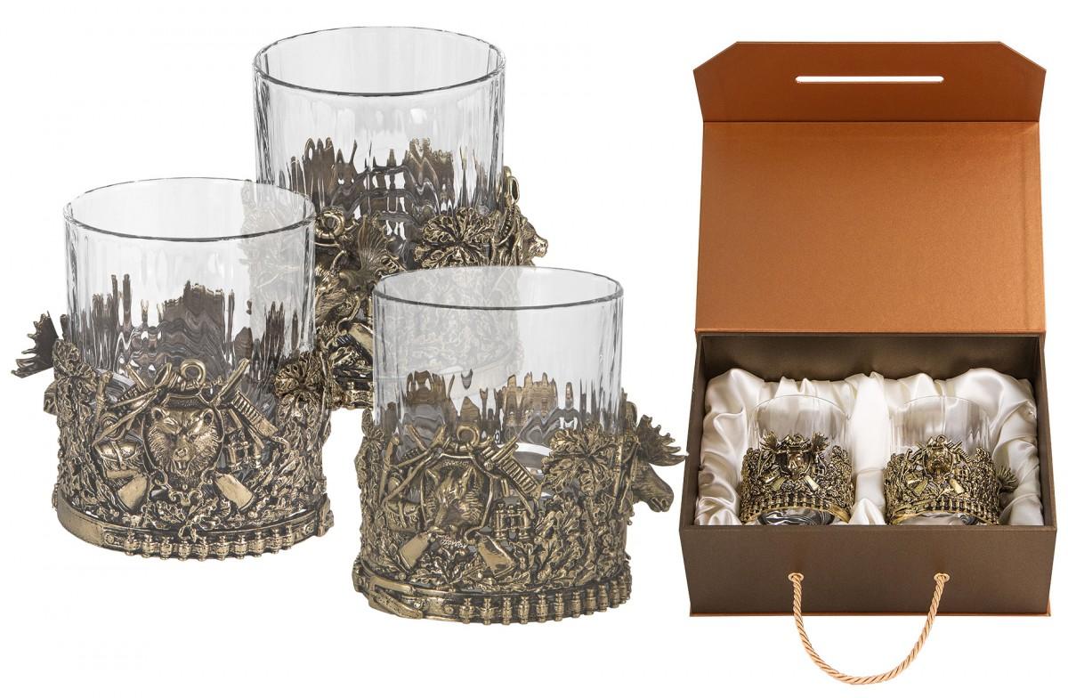 Подарочный набор в подарок охотнику из 3-х бокалов для виски «Охота»