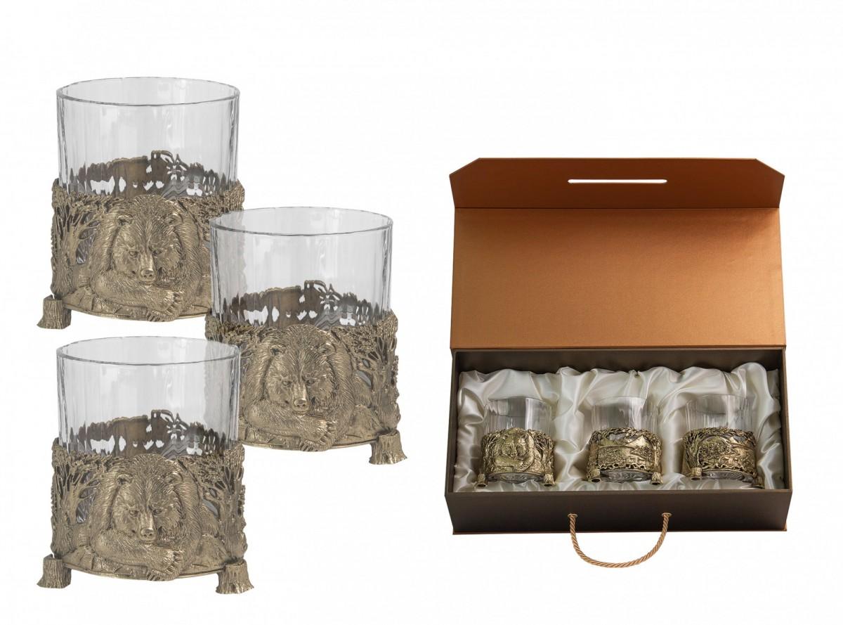 Набор из 3-х бокалов для виски «Медведь»