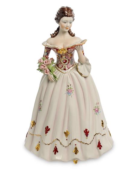 Фарфоровая статуэтка «Девушка с книгой и букетом из роз» S. V. Sabadin