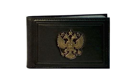 Визитница «Литой Герб России» коричневый