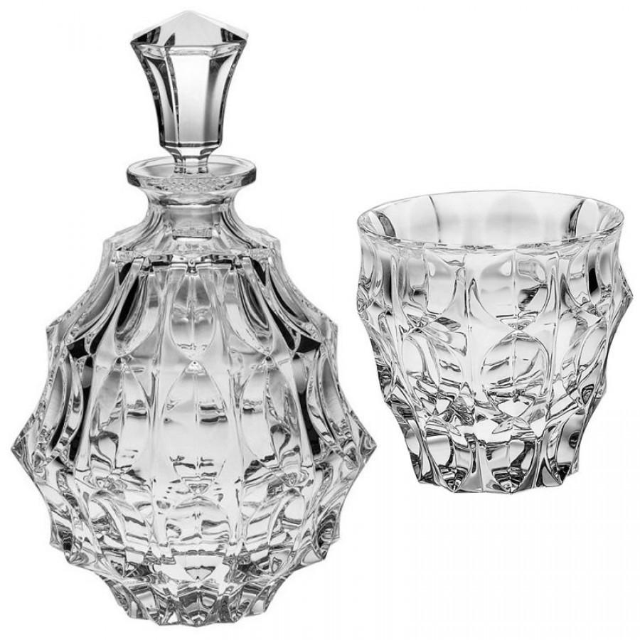 Хрустальный набор для виски Crystal Bohemia, штоф и 2 бокала, коллекция Fortune