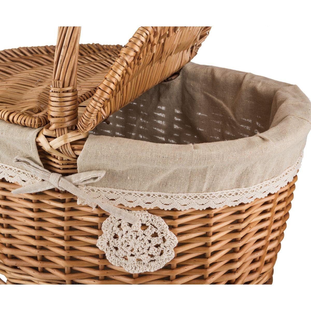 Плетеная корзина для пикника с ручкой 40*31*23/41 см
