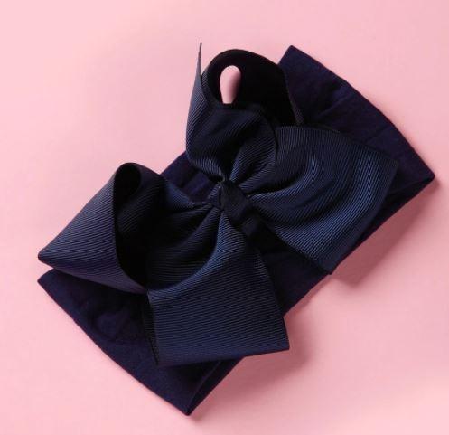 Стильная повязка на голову для девочки с бантом, синего цвета