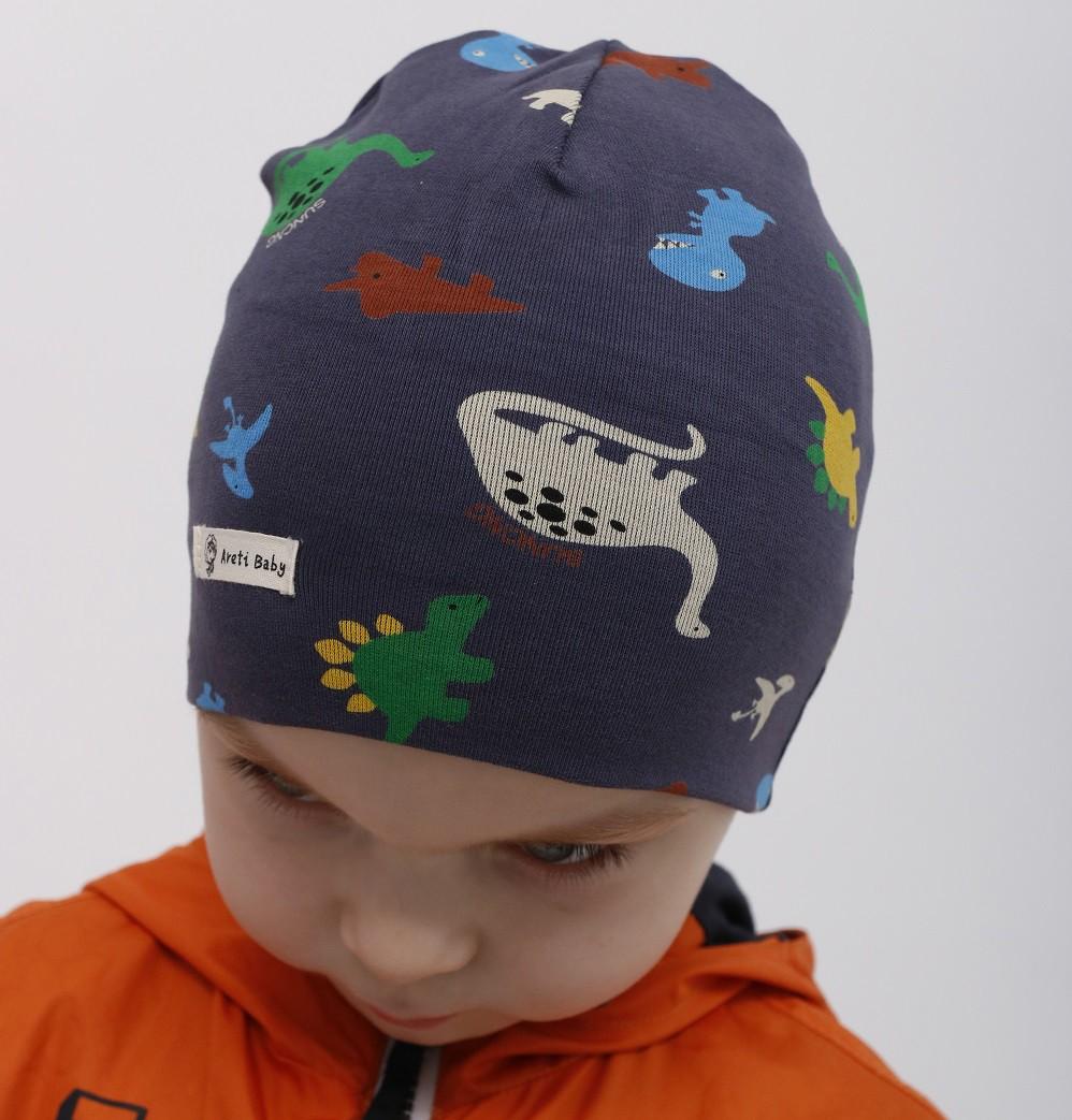 Шапка для мальчика Динозаврики, весенняя