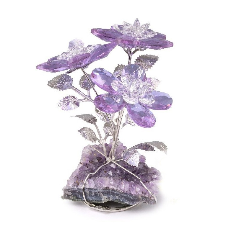 Статуэтка из кристаллов «Три цветка» (фиолетовый)