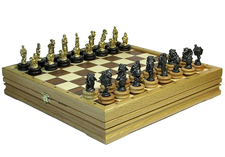 Шахматы «Сказочные» на доске из массива дуба