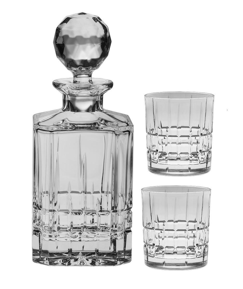 Хрустальный набор для виски штоф + 2 бокала коллекция DOVER