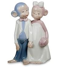 Фарфоровая статуэтка «Милая парочка обезьян»