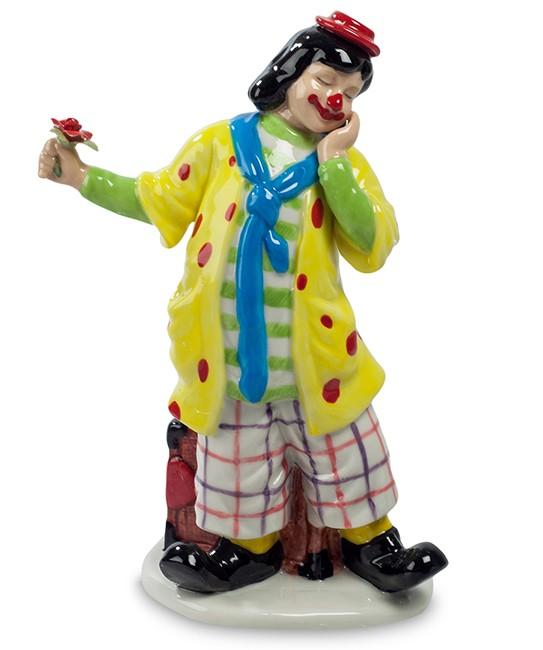 Фарфоровая статуэтка «Клоун с цветком»