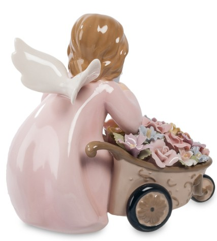 Фарфоровая статуэтка «Ангел с цветочной тележкой»