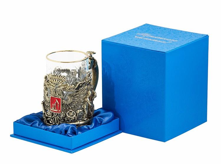 Подстаканник в наборе «Герб нефтяников и газовиков» с объемным изображением в подарочной упаковке