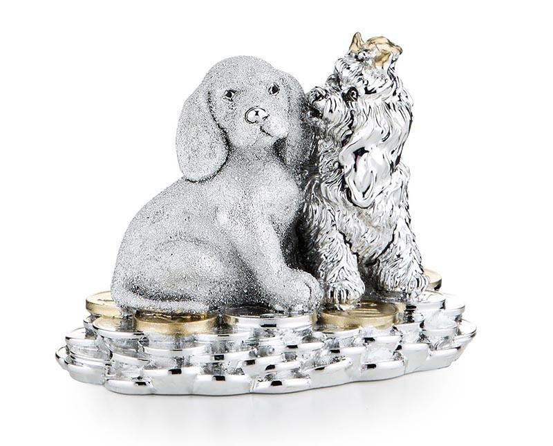 Статуэтка «Две собаки на монетах. Символы 2018»