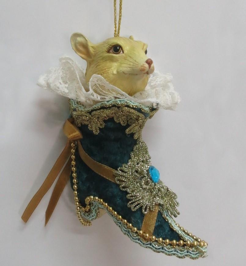 Елочная игрушка «Мышь в ботинке»