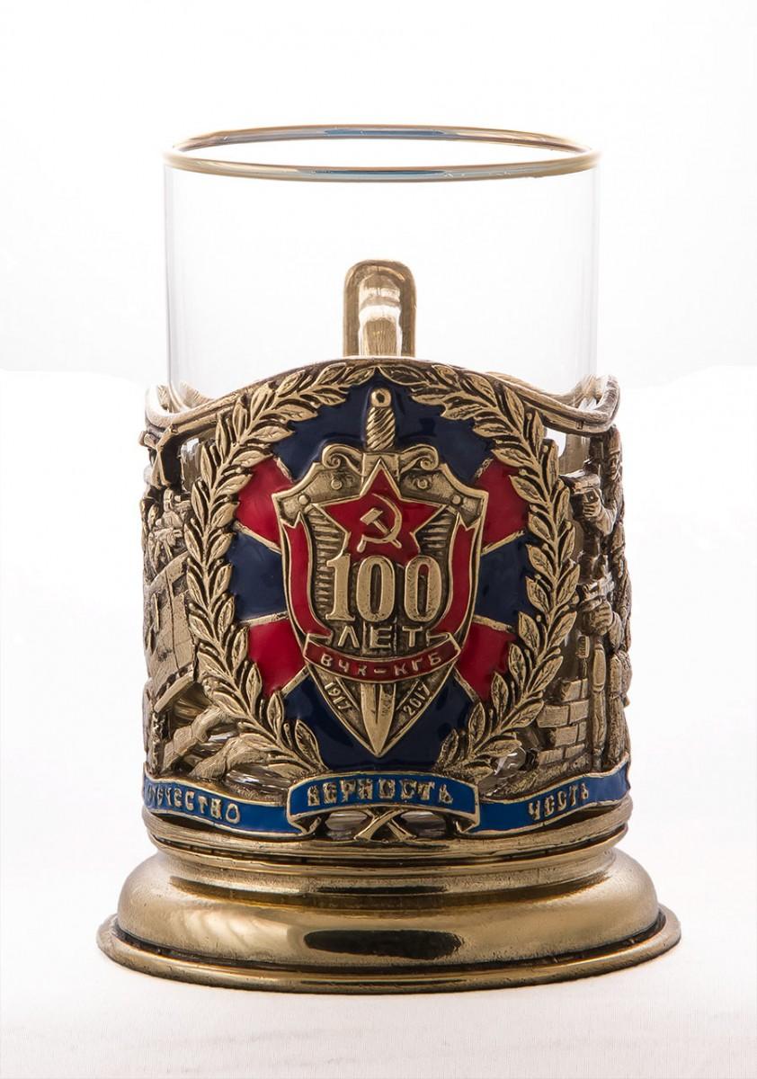 Подстаканник со стаканом «ФСБ. Юбилейный 100 лет»