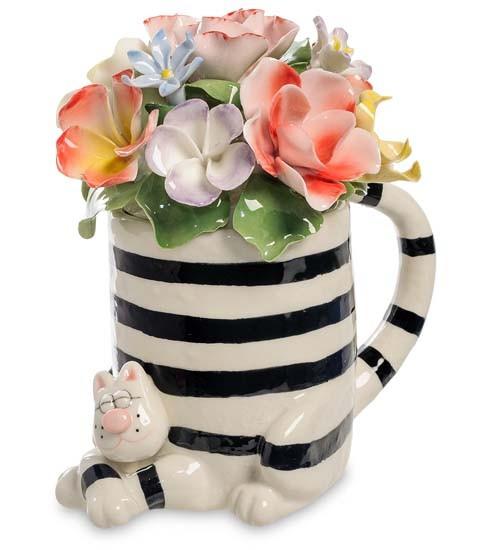 Фарфоровая статуэтка «Цветы в оригинальной вазе»