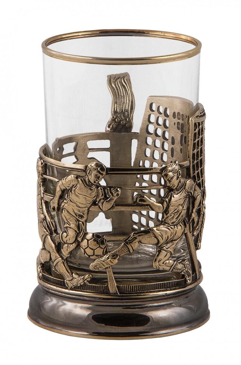 Подстаканник «Футбол» стакан, ложка, футляр
