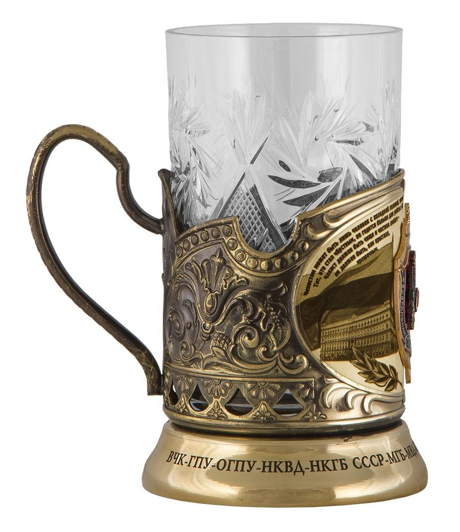Подстаканник «ФСБ»  со стаканом и ложкой