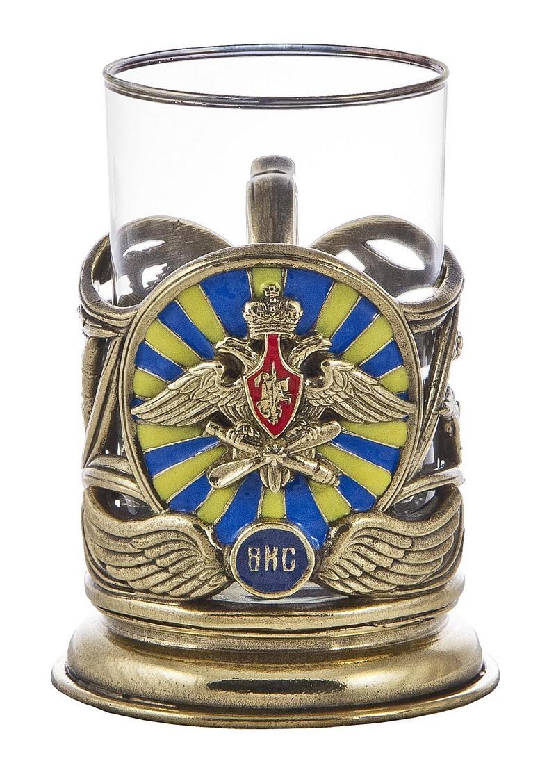Подстаканник со стаканом и ложкой «ВКС»