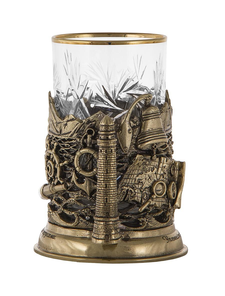 Подарок мужчине подстаканник в наборе «Попутного ветра» в кожаном футляре
