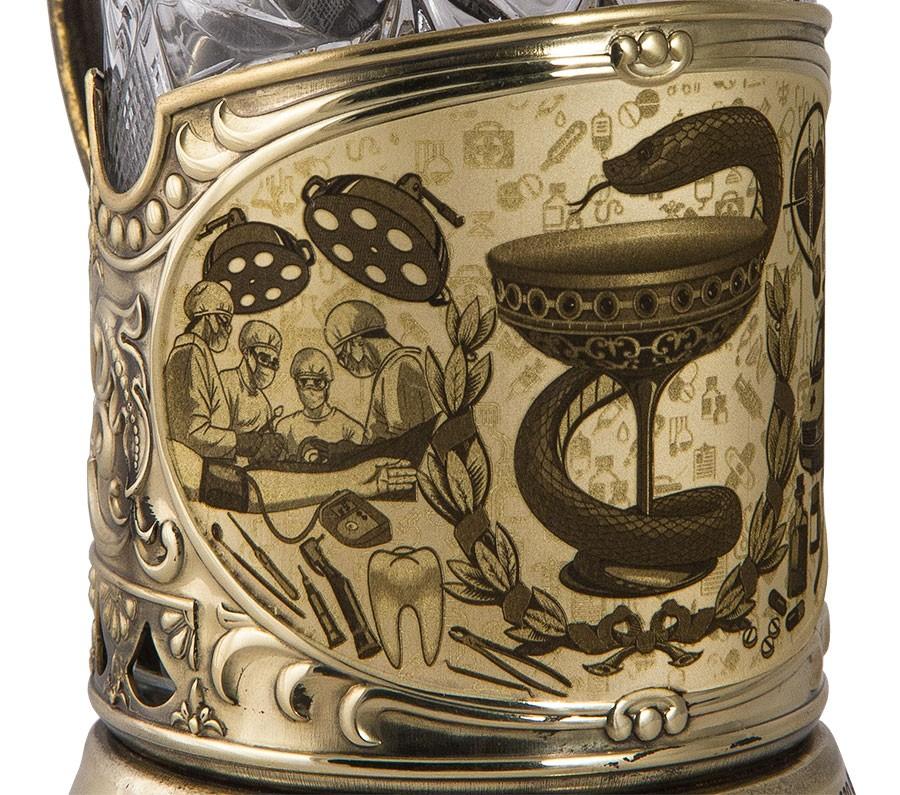 Подстаканник «Медики» в наборе со стаканом и ложкой
