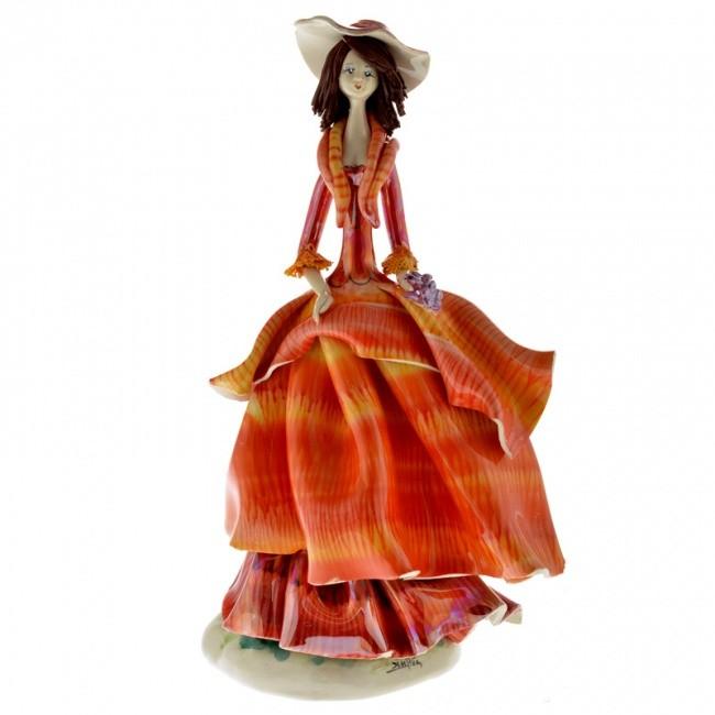 Статуэтка «Дама в оранжевом платье с виноградом», Zampiva