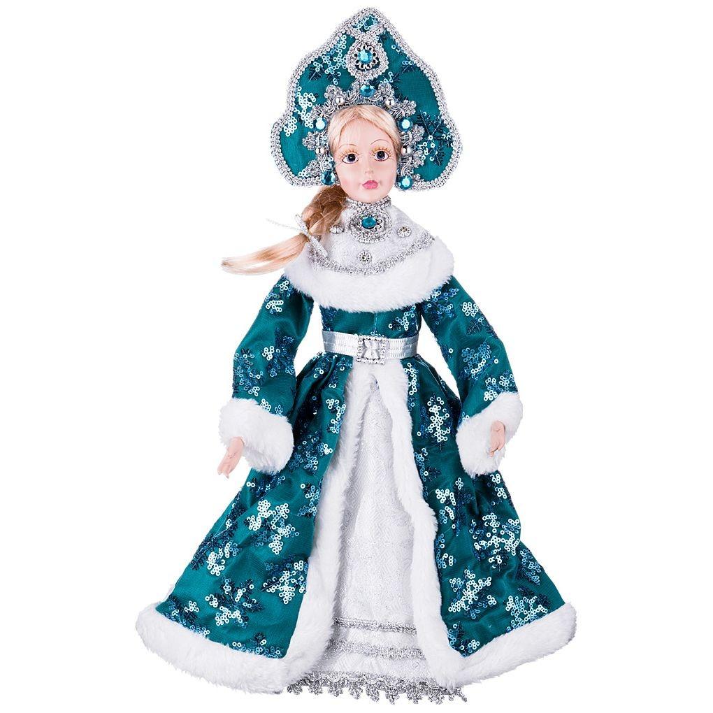 Рождественская кукла «Снегурочка в синем платье»