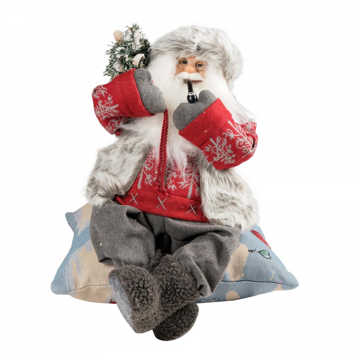 Новогодняя кукла «Дед Мороз с трубкой»