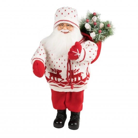 Новогодняя кукла «Санта с елкой в белом свитере»