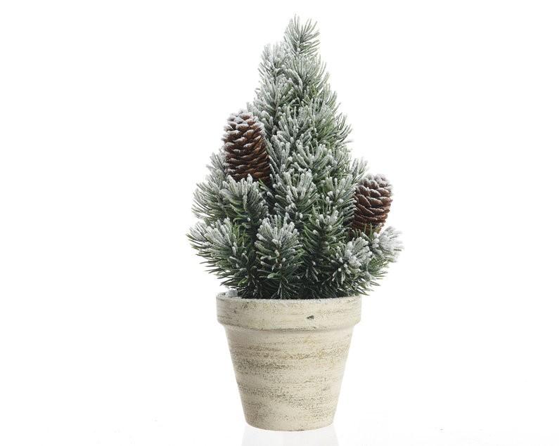 Новогоднее дерево в горшке со снегом