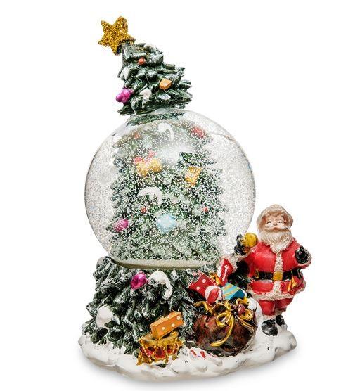 Музыкальный шар со снегом «Елка новогодняя и Дед Мороз»