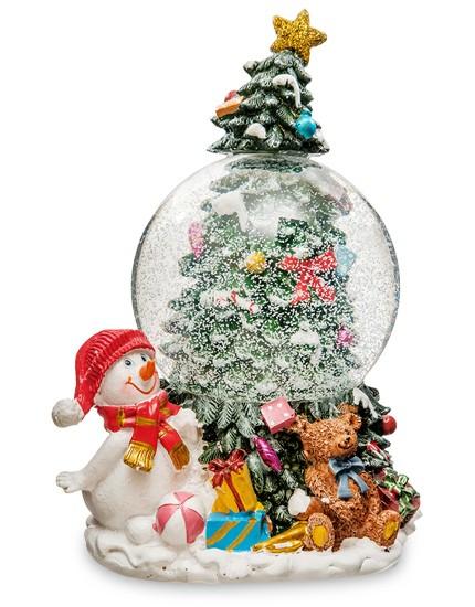 Музыкальный шар со снегом «Елка новогодняя и Снеговик»