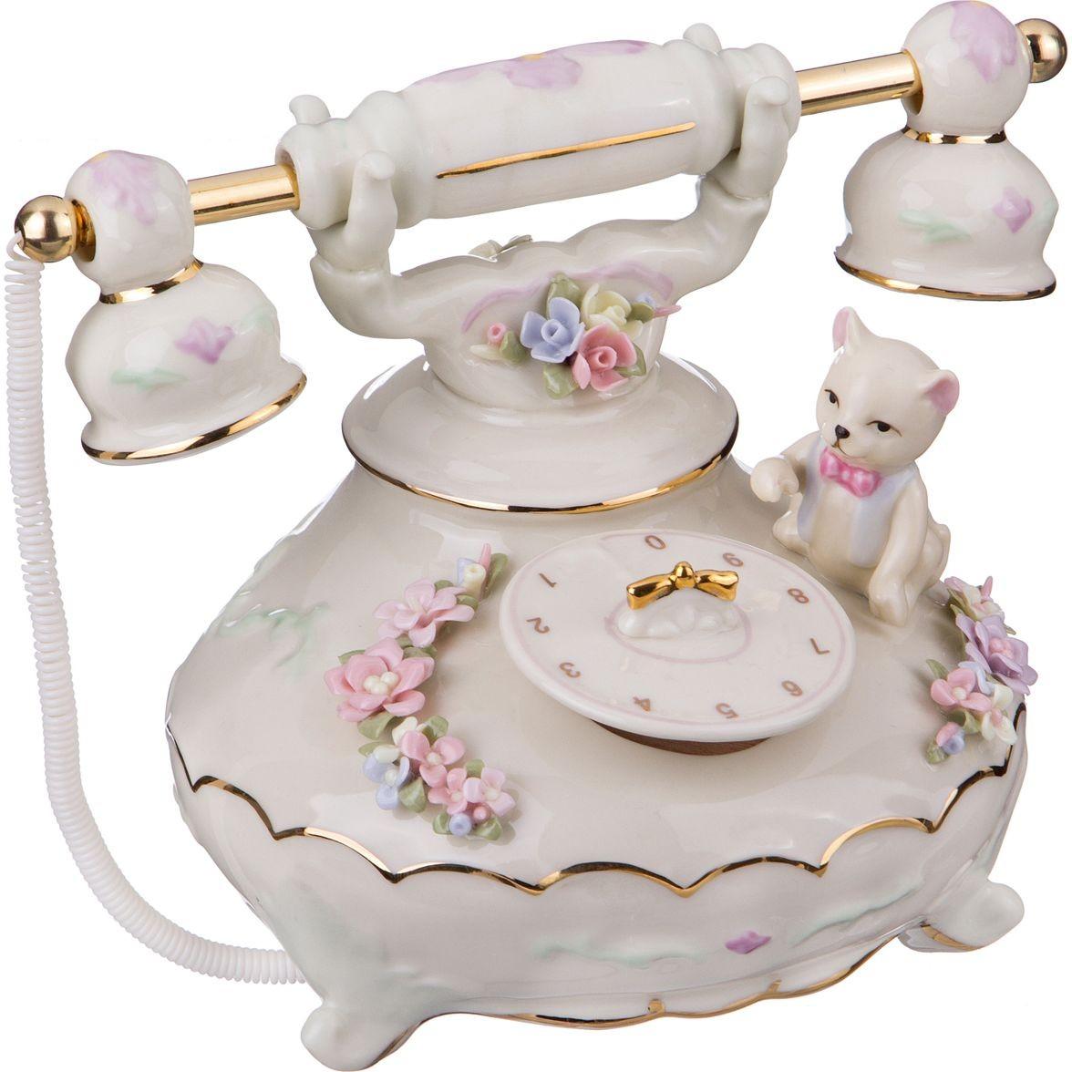 Фарфоровая статуэтка «Телефон и котенок»