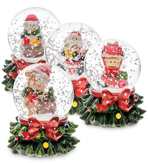 Новогодний набор из 12-ти шаров со снегом «Новогодние Подарки»