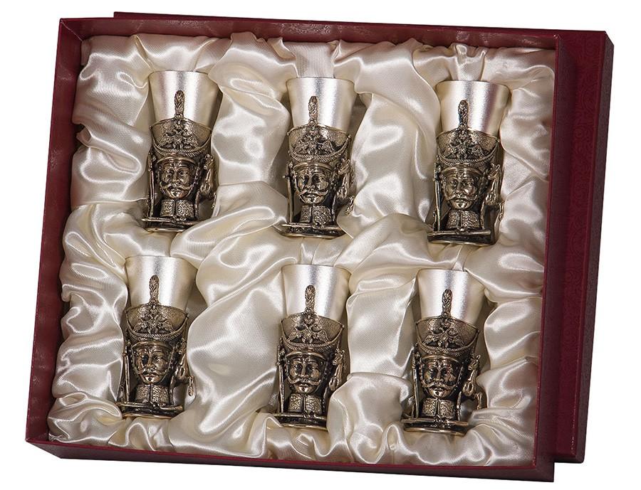 Подарочный набор «Гусарский» из 6 стопок латунных
