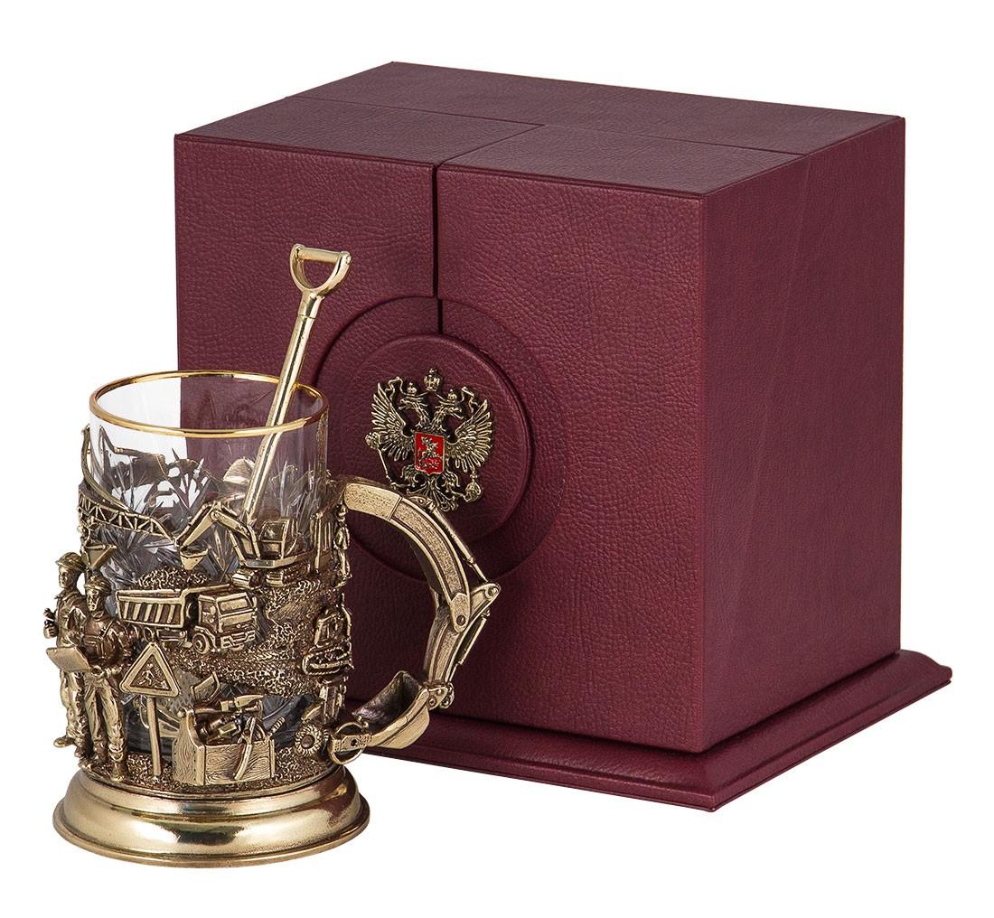 Подстаканник «Строители» в ларце со стаканом и ложкой