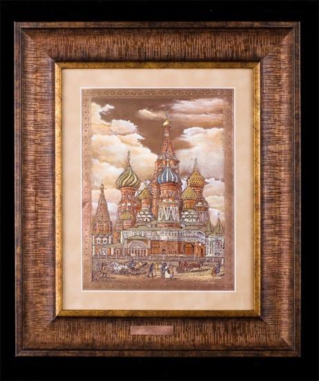 Гравюра «Храм Василя Блаженного, Москва 19 век»