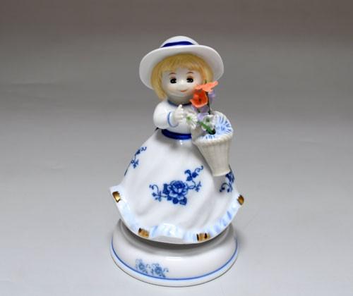 Фарфоровая музыкальная статуэтка «Девочка с цветком»