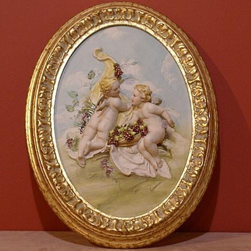 Фарфоровая картина «Ангелочки с виноградом» Porcellane Principe