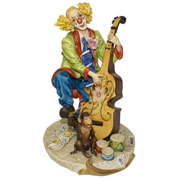 Фарфоровая статуэтка «Клоун с контрабасом»