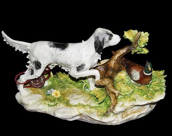 Фарфоровая статуэтка «Сеттер и фазан» Porcellane Principe