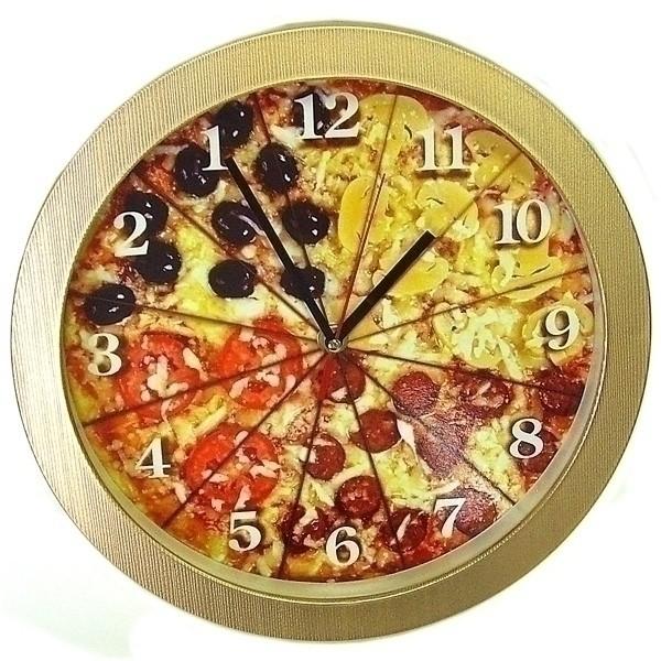 Прикольные настенные часы «Пицца»